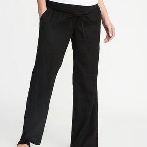 Black linen blend maternity pants